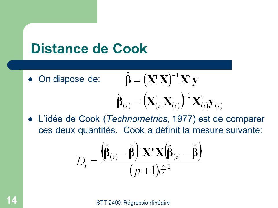 STT-2400; Régression linéaire 14 Distance de Cook  On dispose de:  L'idée de Cook (Technometrics, 1977) est de comparer ces deux quantités. Cook a d