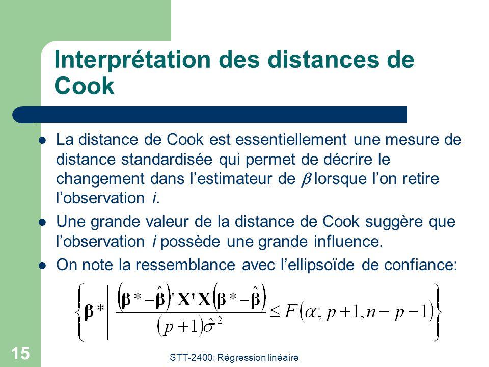 STT-2400; Régression linéaire 15 Interprétation des distances de Cook  La distance de Cook est essentiellement une mesure de distance standardisée qu