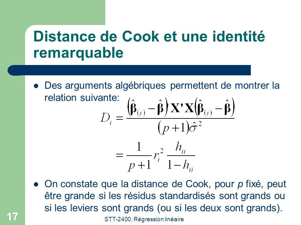 STT-2400; Régression linéaire 17 Distance de Cook et une identité remarquable  Des arguments algébriques permettent de montrer la relation suivante: