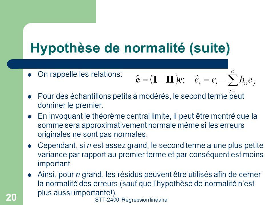 STT-2400; Régression linéaire 20 Hypothèse de normalité (suite)  On rappelle les relations:  Pour des échantillons petits à modérés, le second terme