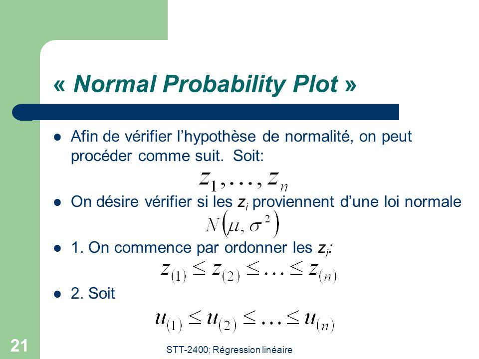 STT-2400; Régression linéaire 21 « Normal Probability Plot »  Afin de vérifier l'hypothèse de normalité, on peut procéder comme suit. Soit:  On dési