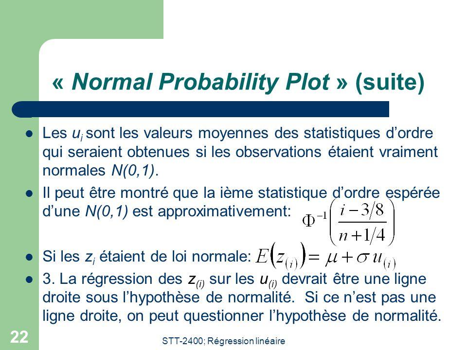STT-2400; Régression linéaire 22 « Normal Probability Plot » (suite)  Les u i sont les valeurs moyennes des statistiques d'ordre qui seraient obtenue