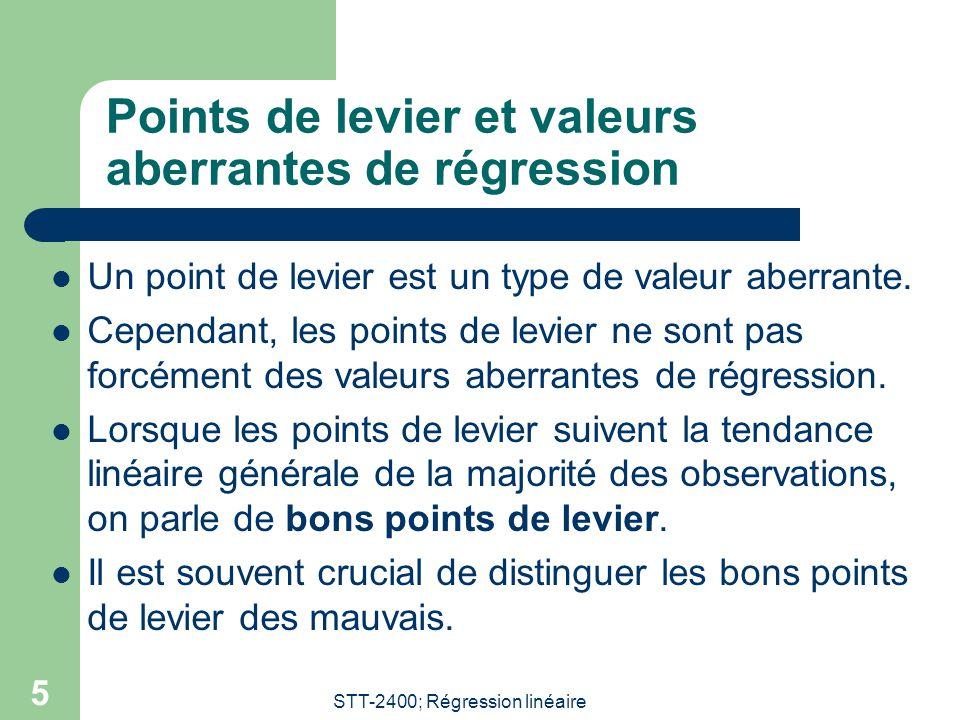 STT-2400; Régression linéaire 5 Points de levier et valeurs aberrantes de régression  Un point de levier est un type de valeur aberrante.  Cependant