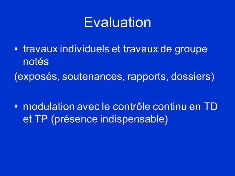Evaluation •travaux individuels et travaux de groupe notés (exposés, soutenances, rapports, dossiers) •modulation avec le contrôle continu en TD et TP (présence indispensable)