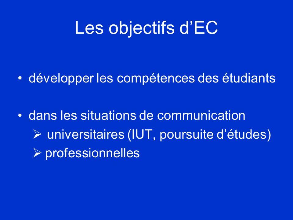 Les objectifs d'EC •développer les compétences des étudiants •dans les situations de communication  universitaires (IUT, poursuite d'études)  professionnelles