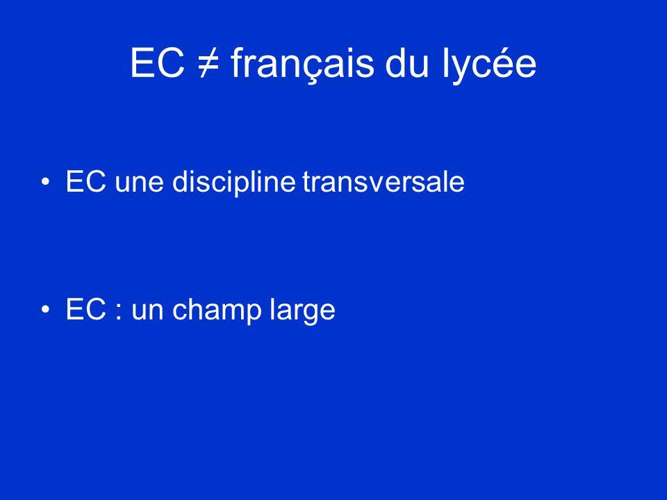 EC ≠ français du lycée •EC une discipline transversale •EC : un champ large