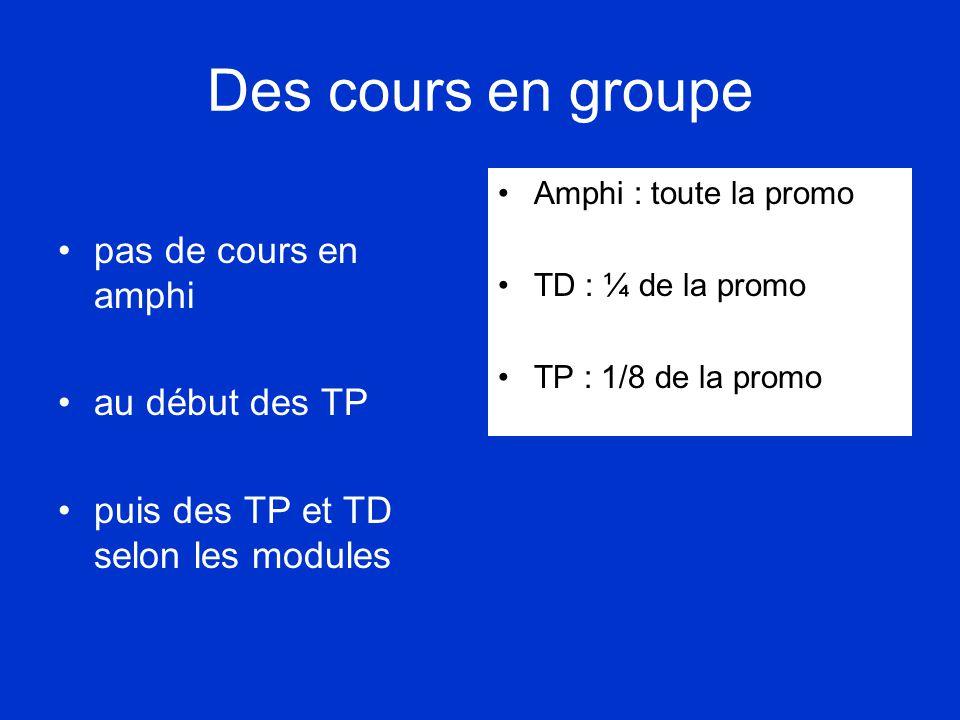 Des cours en groupe •pas de cours en amphi •au début des TP •puis des TP et TD selon les modules •Amphi : toute la promo •TD : ¼ de la promo •TP : 1/8 de la promo
