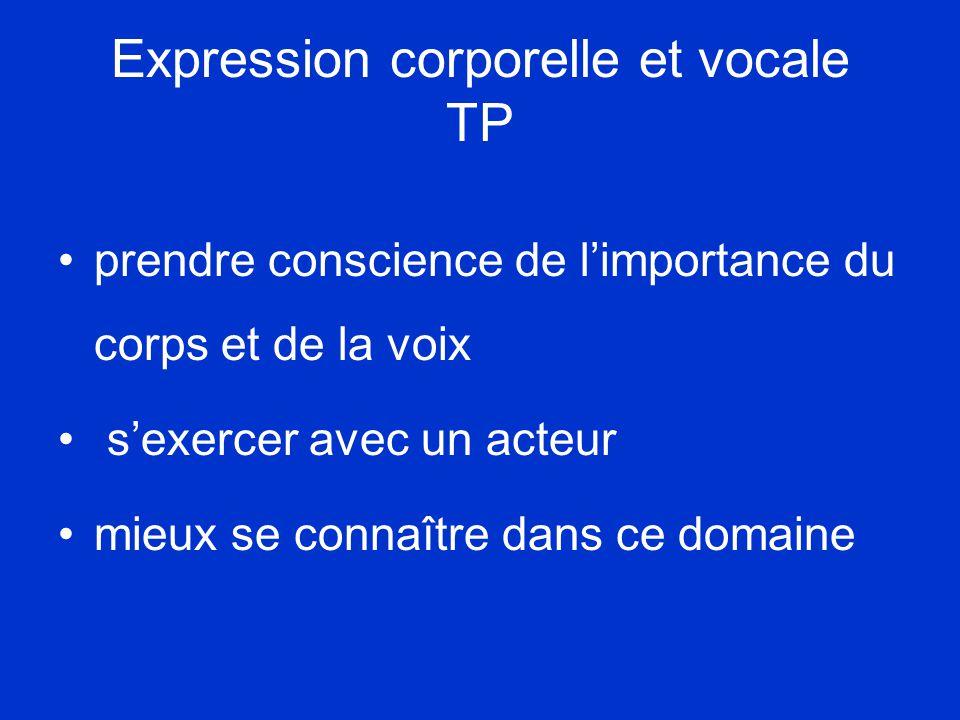 Expression corporelle et vocale TP •prendre conscience de l'importance du corps et de la voix • s'exercer avec un acteur •mieux se connaître dans ce domaine