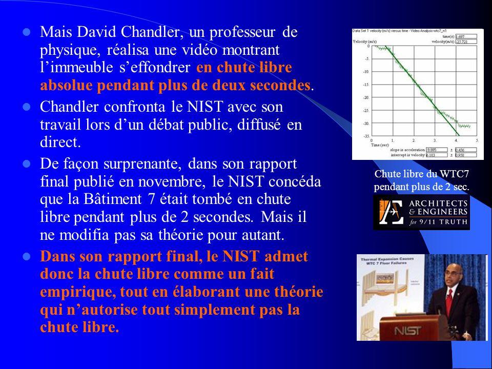 Mais David Chandler, un professeur de physique, réalisa une vidéo montrant l'immeuble s'effondrer en chute libre absolue pendant plus de deux second