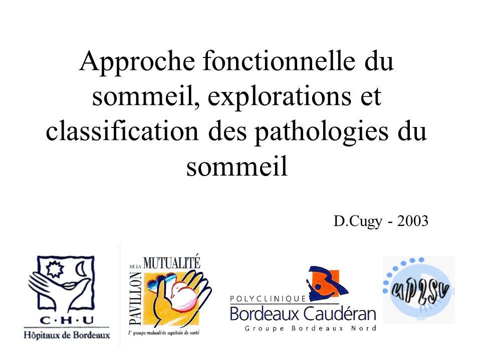Approche fonctionnelle du sommeil, explorations et classification des pathologies du sommeil D.Cugy - 2003