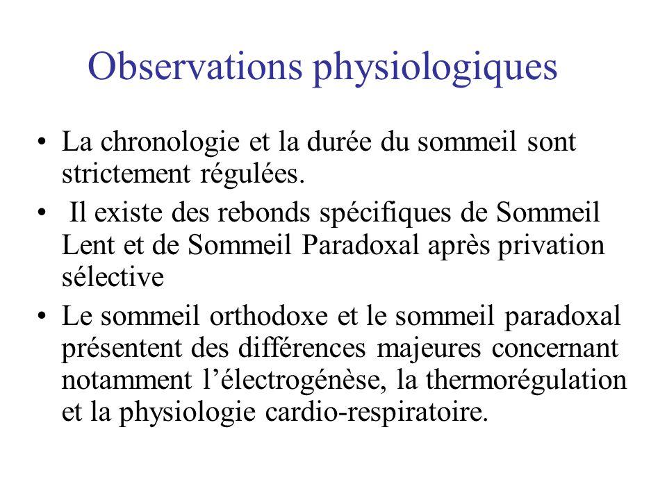 Observations physiologiques •La chronologie et la durée du sommeil sont strictement régulées. • Il existe des rebonds spécifiques de Sommeil Lent et d