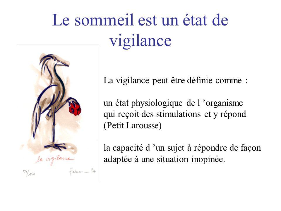 La vigilance peut être définie comme : un état physiologique de l 'organisme qui reçoit des stimulations et y répond (Petit Larousse) la capacité d 'u