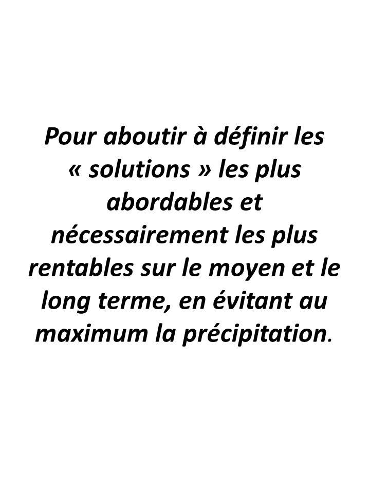 Pour aboutir à définir les « solutions » les plus abordables et nécessairement les plus rentables sur le moyen et le long terme, en évitant au maximum la précipitation.