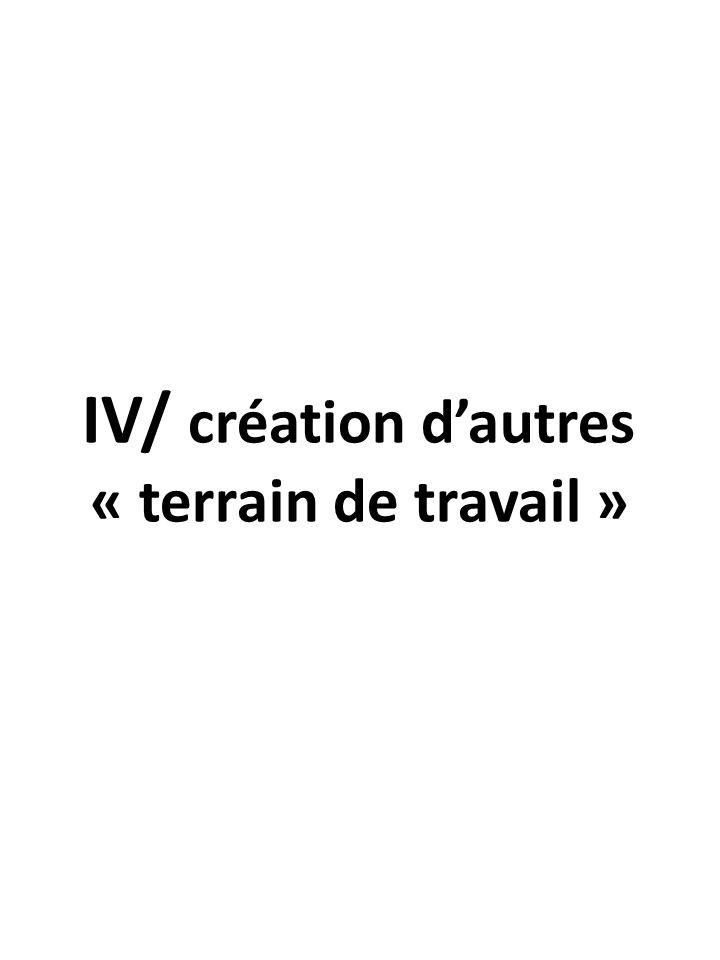 IV/ création d'autres « terrain de travail »