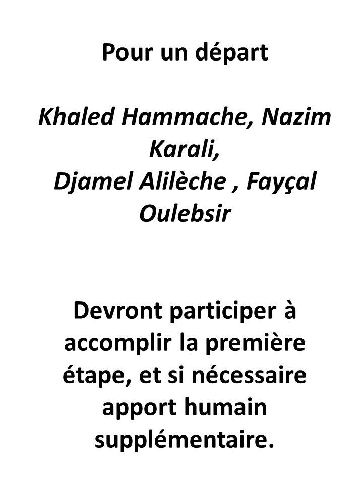 Pour un départ Khaled Hammache, Nazim Karali, Djamel Alilèche, Fayçal Oulebsir Devront participer à accomplir la première étape, et si nécessaire apport humain supplémentaire.