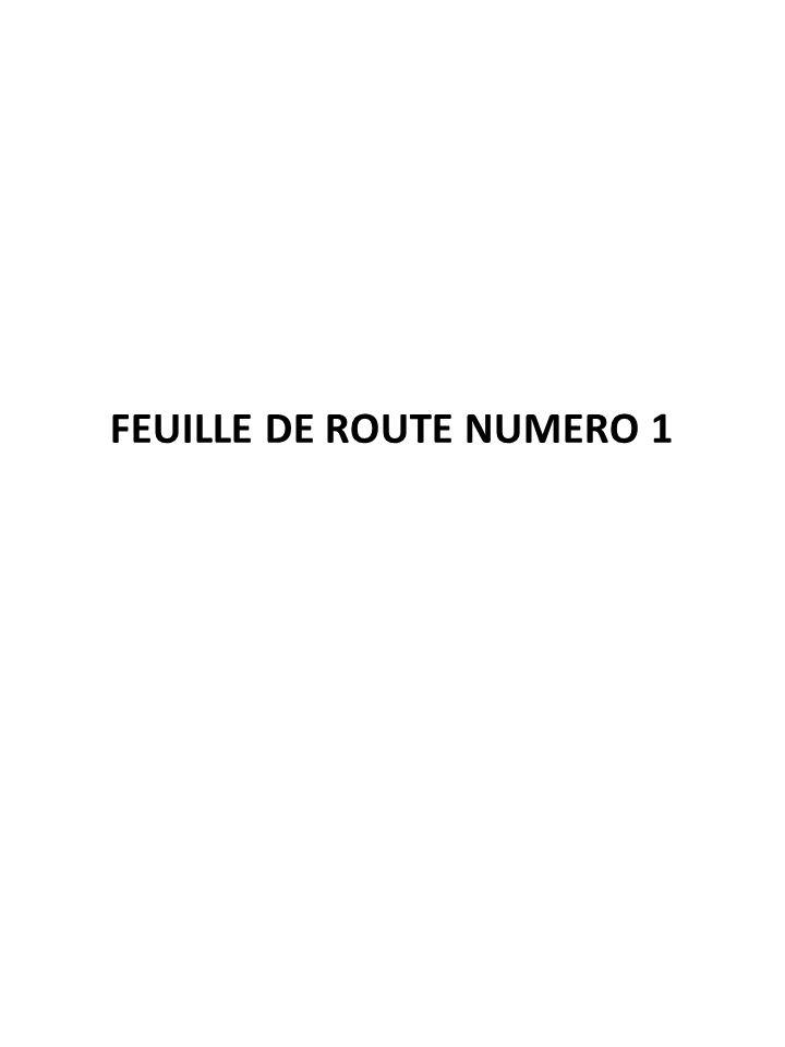 FEUILLE DE ROUTE NUMERO 1