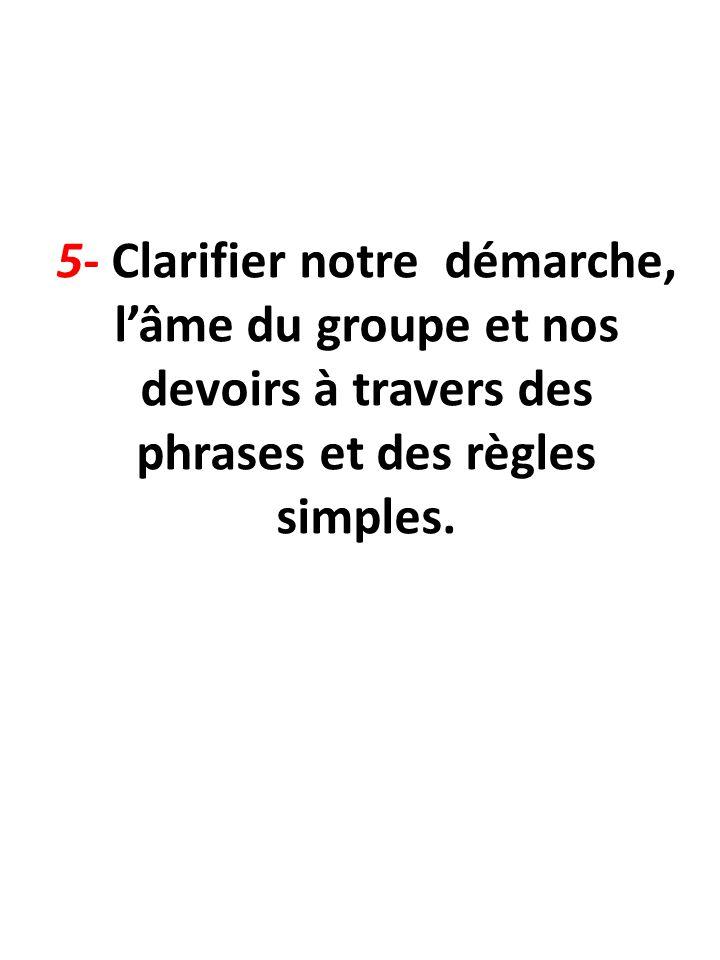 5- Clarifier notre démarche, l'âme du groupe et nos devoirs à travers des phrases et des règles simples.