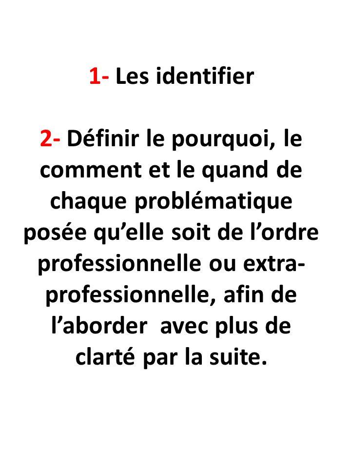1- Les identifier 2- Définir le pourquoi, le comment et le quand de chaque problématique posée qu'elle soit de l'ordre professionnelle ou extra- professionnelle, afin de l'aborder avec plus de clarté par la suite.