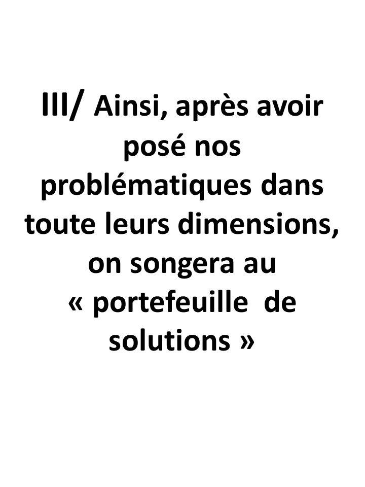 III/ Ainsi, après avoir posé nos problématiques dans toute leurs dimensions, on songera au « portefeuille de solutions »