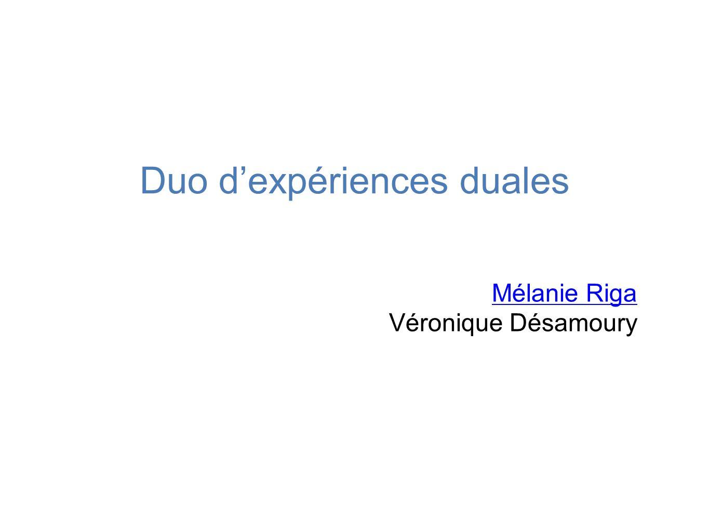 Duo d'expériences duales Mélanie Riga Véronique Désamoury