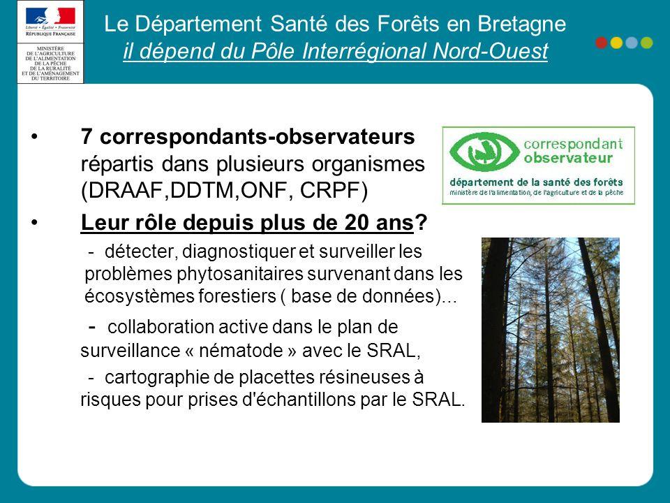 Le Département Santé des Forêts en Bretagne il dépend du Pôle Interrégional Nord-Ouest •7 correspondants-observateurs répartis dans plusieurs organism