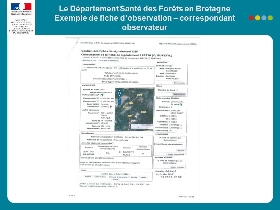 Le Département Santé des Forêts en Bretagne Exemple de fiche d'observation – correspondant observateur