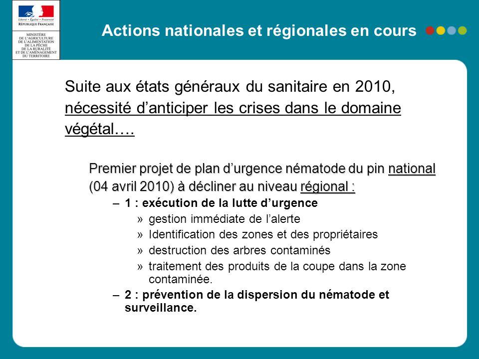 Actions nationales et régionales en cours Suite aux états généraux du sanitaire en 2010, nécessité d'anticiper les crises dans le domaine végétal…. Pr