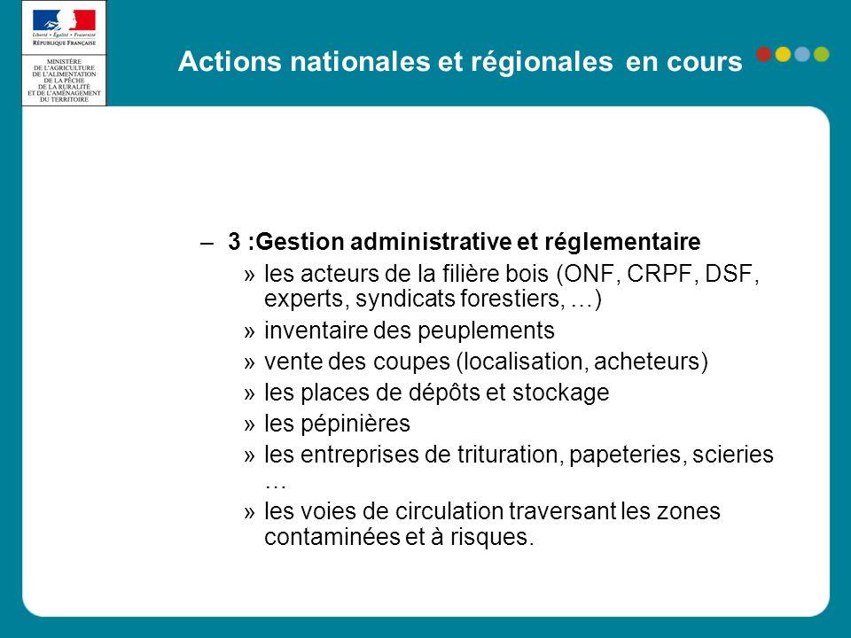 Actions nationales et régionales en cours – 3 :Gestion administrative et réglementaire »les acteurs de la filière bois (ONF, CRPF, DSF, experts, syndi