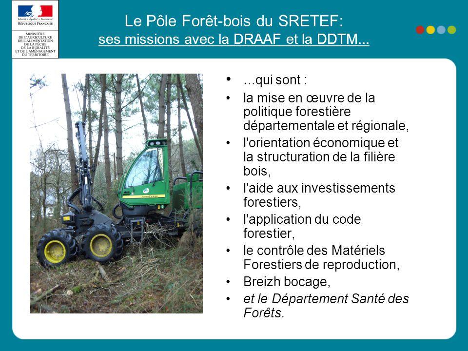 Le Pôle Forêt-bois du SRETEF: ses missions avec la DRAAF et la DDTM... •...qui sont : •la mise en œuvre de la politique forestière départementale et r