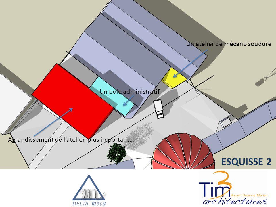 Un atelier de mécano soudure Agrandissement de l'atelier plus important… Un pole administratif ESQUISSE 2