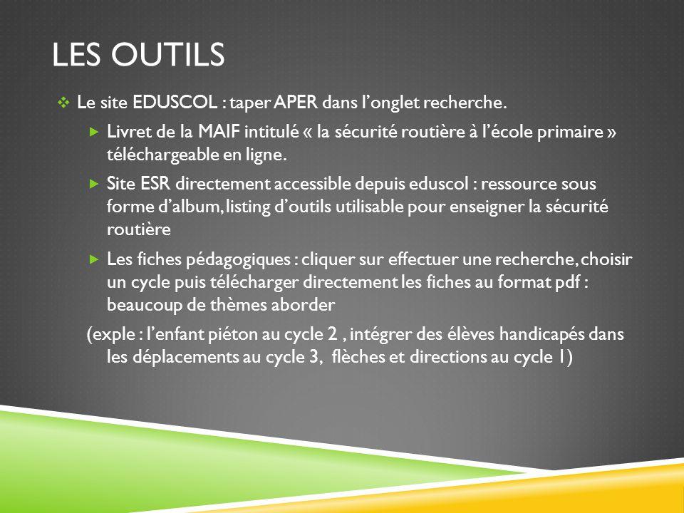 LES OUTILS  Le site EDUSCOL : taper APER dans l'onglet recherche.  Livret de la MAIF intitulé « la sécurité routière à l'école primaire » télécharge