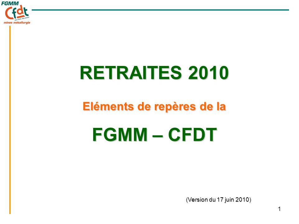 1 RETRAITES 2010 Eléments de repères de la FGMM – CFDT (Version du 17 juin 2010)