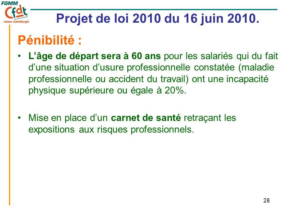 28 Projet de loi 2010 du 16 juin 2010. Pénibilité : •L'âge de départ sera à 60 ans pour les salariés qui du fait d'une situation d'usure professionnel