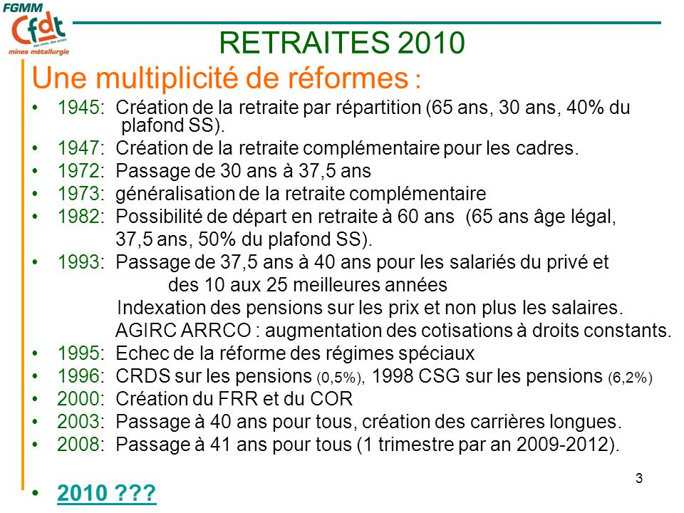 3 Une multiplicité de réformes : •1945: Création de la retraite par répartition (65 ans, 30 ans, 40% du plafond SS). •1947: Création de la retraite co