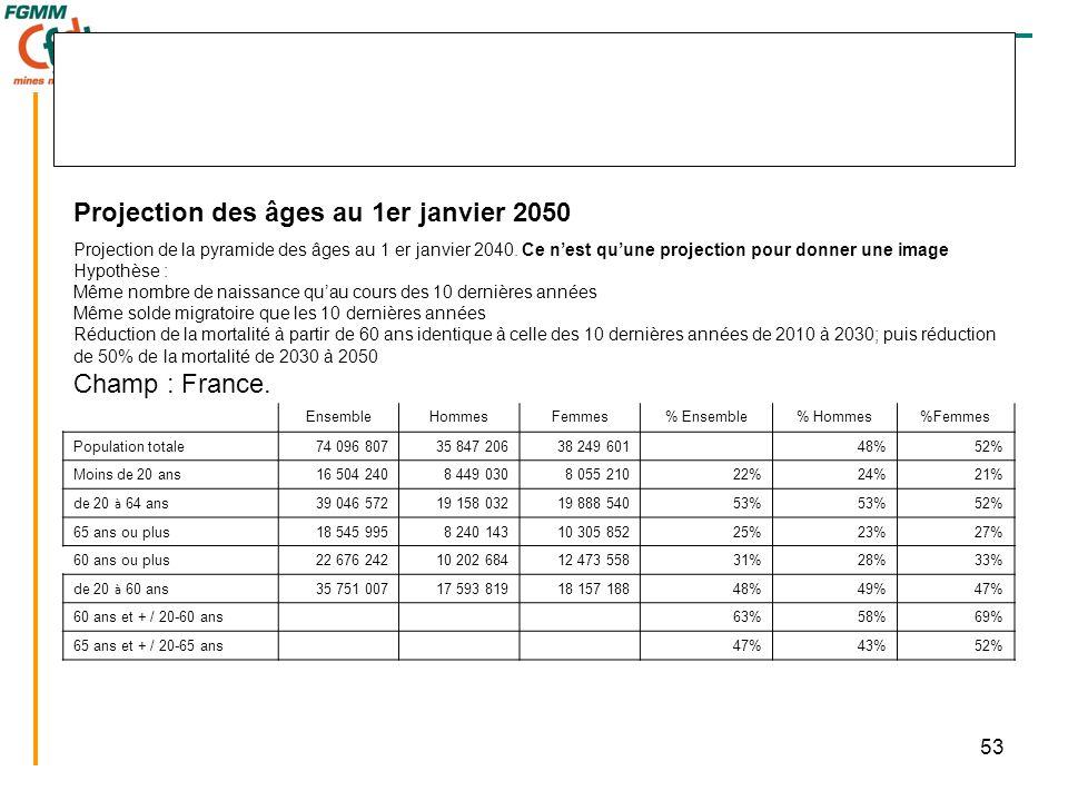 53 Projection des âges au 1er janvier 2050 Projection de la pyramide des âges au 1 er janvier 2040.