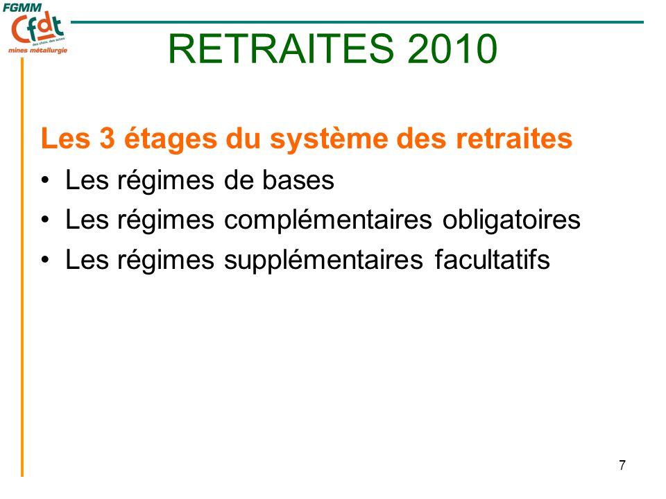 7 RETRAITES 2010 Les 3 étages du système des retraites •Les régimes de bases •Les régimes complémentaires obligatoires •Les régimes supplémentaires facultatifs