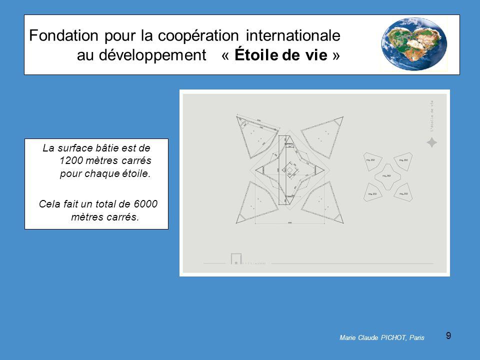 9 Fondation pour la coopération internationale au développement« Étoile de vie » La surface bâtie est de 1200 mètres carrés pour chaque étoile.