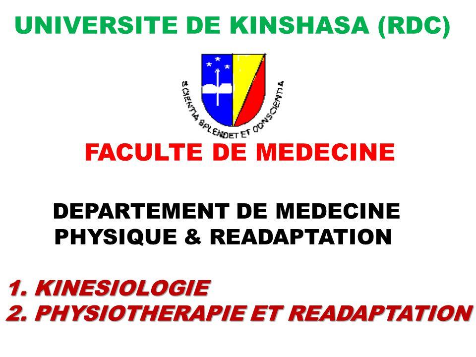1. KINESIOLOGIE 2. PHYSIOTHERAPIE ET READAPTATION UNIVERSITE DE KINSHASA (RDC) FACULTE DE MEDECINE DEPARTEMENT DE MEDECINE PHYSIQUE & READAPTATION 1.
