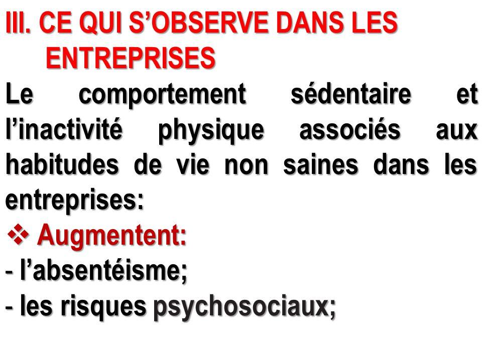 III. CE QUI S'OBSERVE DANS LES ENTREPRISES ENTREPRISES Le comportement sédentaire et l'inactivité physique associés aux habitudes de vie non saines da