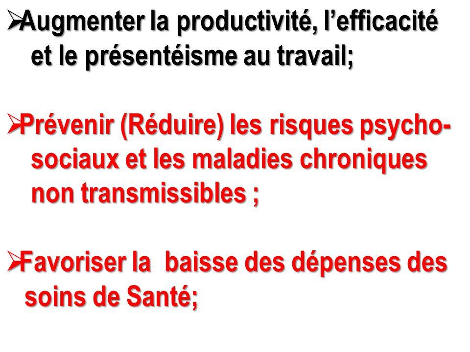  Augmenter la productivité, l'efficacité et le présentéisme au travail; et le présentéisme au travail;  Prévenir (Réduire) les risques psycho- socia