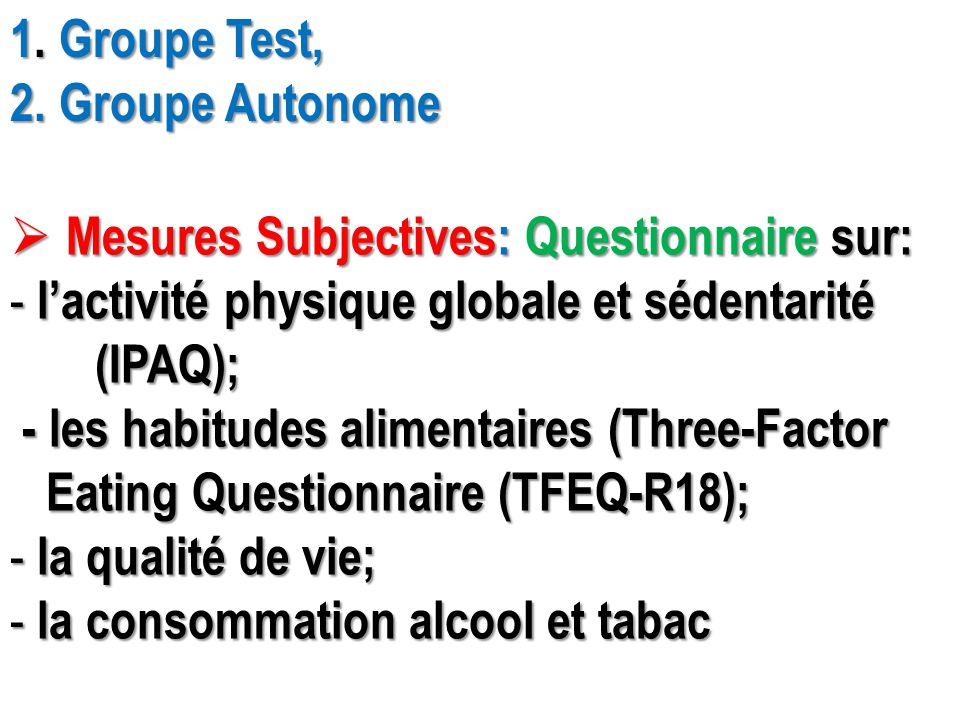 1. Groupe Test, 2. Groupe Autonome  Mesures Subjectives: Questionnaire sur: - l'activité physique globale et sédentarité (IPAQ); (IPAQ); - les habitu