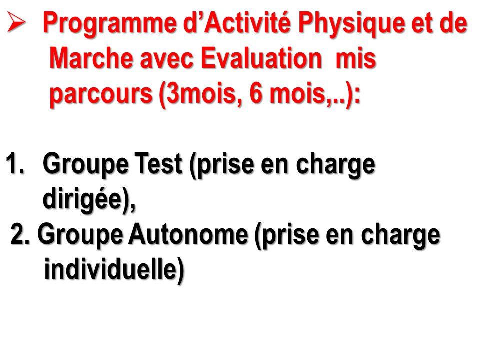  Programme d'Activité Physique et de Marche avec Evaluation mis Marche avec Evaluation mis parcours (3mois, 6 mois,..): parcours (3mois, 6 mois,..):