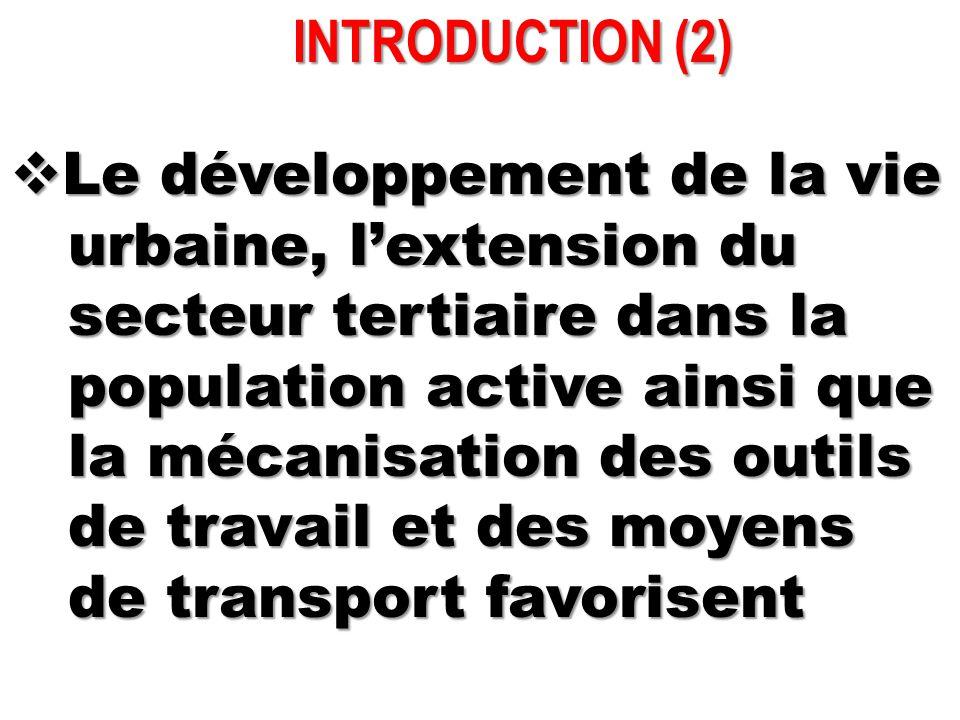 INTRODUCTION (2) INTRODUCTION (2)  Le développement de la vie urbaine, l'extension du urbaine, l'extension du secteur tertiaire dans la secteur terti