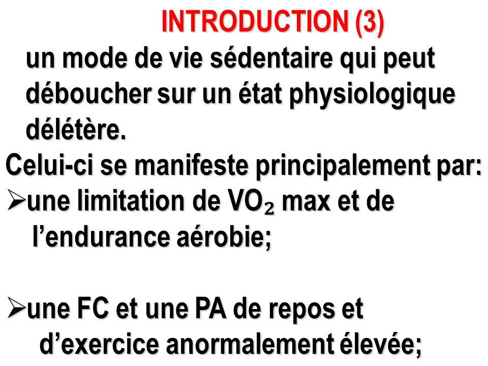 INTRODUCTION (3) INTRODUCTION (3) un mode de vie sédentaire qui peut un mode de vie sédentaire qui peut déboucher sur un état physiologique déboucher