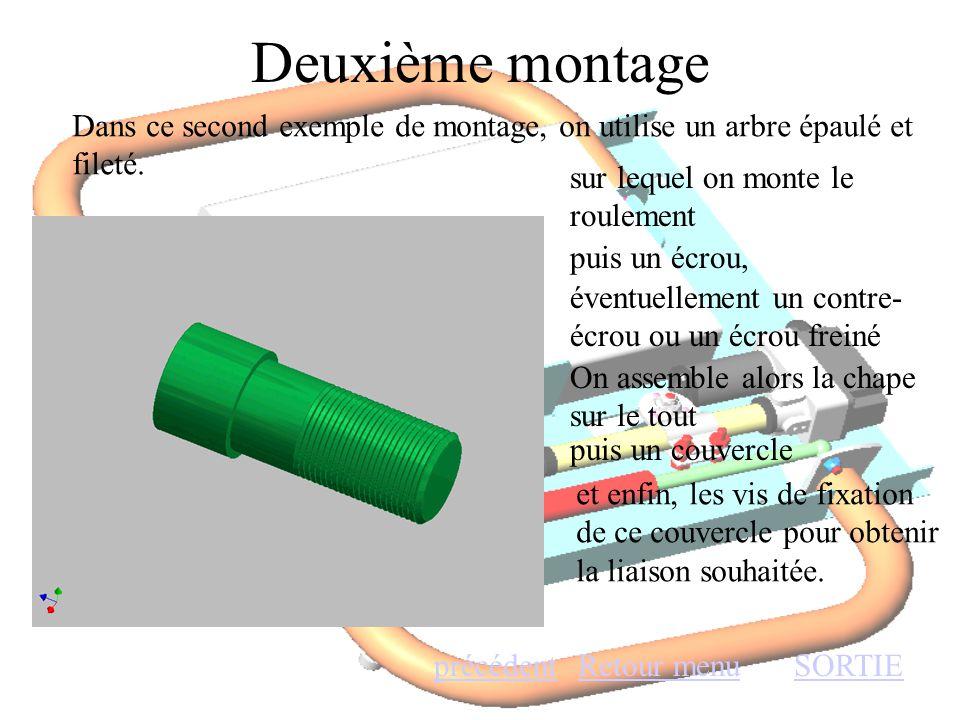 Deuxième montage Retour menuSORTIEprécédent Dans ce second exemple de montage, on utilise un arbre épaulé et fileté. sur lequel on monte le roulement