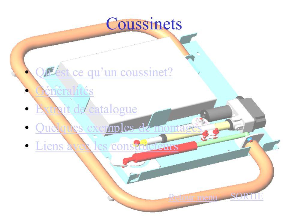 Coussinets •Qu'est ce qu'un coussinet?Qu'est ce qu'un coussinet? •GénéralitésGénéralités •Extrait de catalogueExtrait de catalogue •Quelques exemples