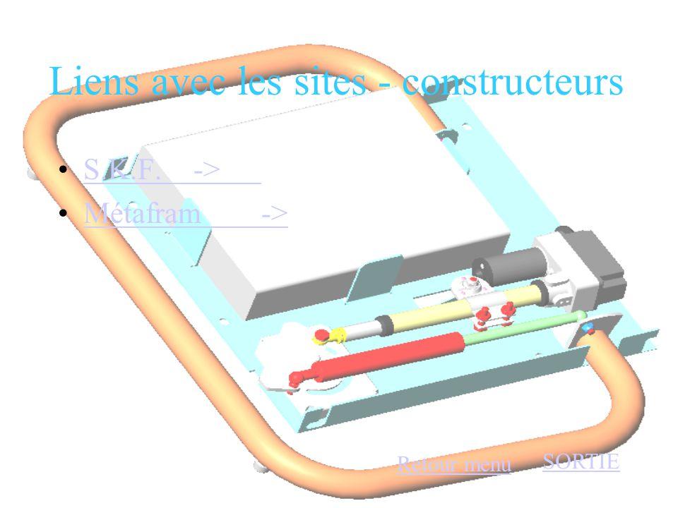 Liens avec les sites - constructeurs •S.K.F. ->S.K.F. -> •Métafram->Métafram-> Retour menu SORTIE