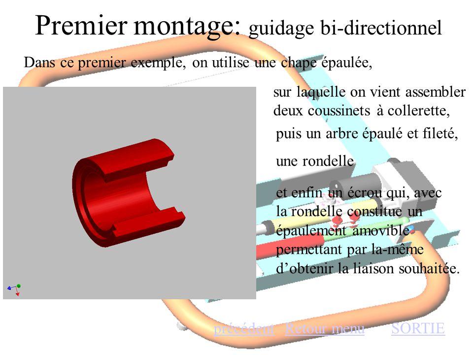 Premier montage: guidage bi-directionnel Retour menuSORTIEprécédent Dans ce premier exemple, on utilise une chape épaulée, sur laquelle on vient assem
