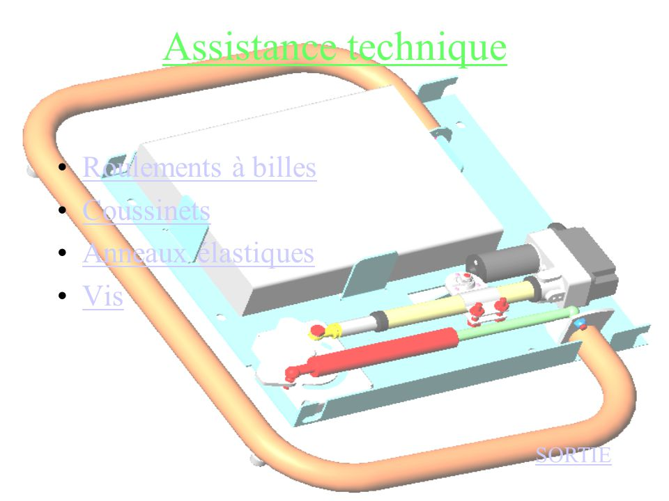 Assistance technique •Roulements à billesRoulements à billes •CoussinetsCoussinets •Anneaux élastiquesAnneaux élastiques •VisVis SORTIE