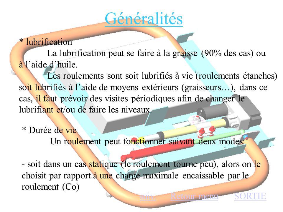 Généralités * lubrification La lubrification peut se faire à la graisse (90% des cas) ou à l'aide d'huile. Les roulements sont soit lubrifiés à vie (r